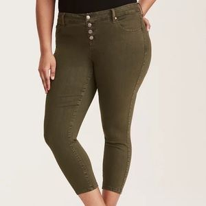 Torrid Ultra Skinny Cropped Button Fly Olive Jeans